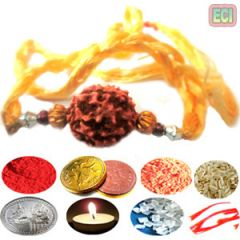 Rakshabandhan 9 gifts set Resham Thread rudraksha Rakhi to india