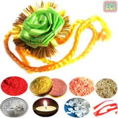 9 items Colorful fancy Silk String Rudraksha Rakhi