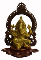 Beautiful Carved Brass Pooja Diya/oil Lamp W/sitting Ganesha/ganesha Idol