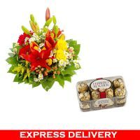 Happy Anniversary_mix Flower Basket With Chocolate