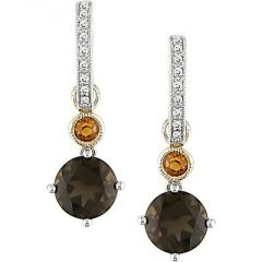 AgGem Diamond Chocolate Brown Gemstones Earring
