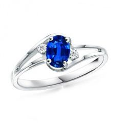 Ag Gem Real Diamond Blue Oval Gemstone Ring
