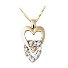 Ag Real Diamond Double Heart Pendant