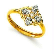 Ag Real Diamond Stone Four Side Design Ring