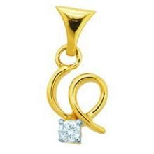 Avsar Real Gold And Diamond Curve Pendant Avp039 - Fine Jewellery & Coins