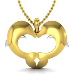 Avsar Real Gold and Diamond Fish Heart Pendant AUP002A
