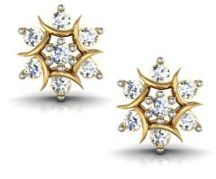 Avsar Real Gold and Swarovski Stone Anjali  Earring AVE009YB
