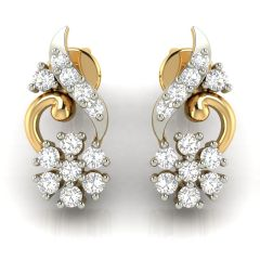 Avsar Real Gold and Cubic Zirconia Stone Earring( Code - AVE265YB )
