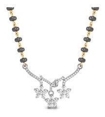 Gold mangalsutra - Avsar Real Gold and Swarovski Stone Bhopal MangalsutRa  AVM070WB