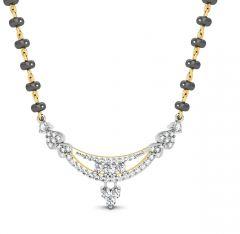 Gold mangalsutra - Avsar Real Gold and Swarovski Stone Uttarakhand Mangalsutra  AVM075YB