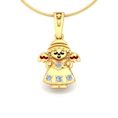 Avsar Real Gold and Diamond Anjali Pendant AVP156A