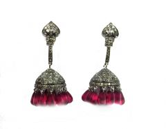 2.21CT REAL DIAMOND CREATED RUBY VICTORIAN EARRING