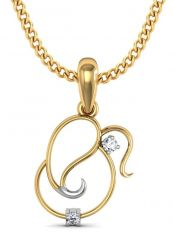 Avsar Real Gold And Cubic Zirconia Stone Ganesh Shape Pendant( Code - God4ybn )