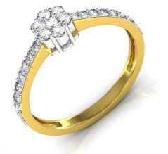 Gold Rings - Avsar Real Gold and Diamond Sonali Ring INTR058A
