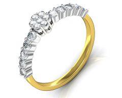 Gold Rings - Avsar Real Gold and Diamond Aakansha Ring INTR063A