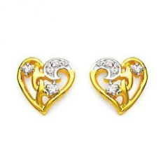 Ag American Diamond HEART SHAPE EARRING KIE0005