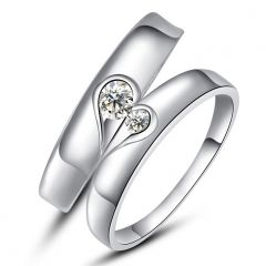 Silvery Jewellery - Kiara Jewellery Sterling Silver Swarovski Zirconia Couple Ring KIR0249