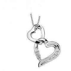 Tarang Real Diamond Seven Stone Two Heart Pendant # TAP006