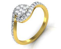Gold Rings - Avsar Real Gold and Diamond Maya Ring INTR052A