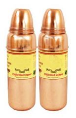 Pure Copper Set Of 2 Thermos Design Water Bottle 800 Ml Storage Yoga