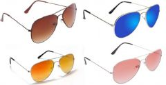 Sunglass Combo - Brown S Red 2 Shade ,golden Mercury ,blue Mercury