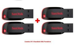 Shop or Gift Combo Of 4 Sandisk 8GB Cruzer Blade Pendrive Online.