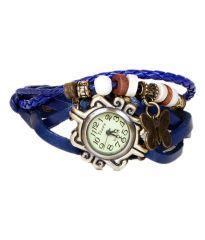 Shop or Gift MF Leather Bracelet Vintage Butterfly Women Wrist Watch - Blue Online.