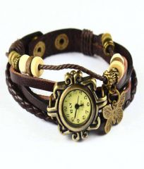 MF Vintage Square Brown Pendent Women's Wrist Watch