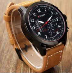 Curren Tan Leather Analog Watch - Rosf