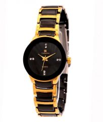 New Iik Collection Black Metal Round Analog Watch For Women Mens