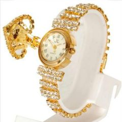 Shop or Gift American Diamond, Golden Bracelet cum Wrist watch Mothers Day Gift - MDJEW Online.