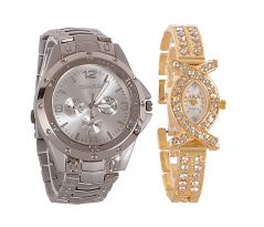 Rosra Silver Round Analog Watch (Buy 1 Get 1)