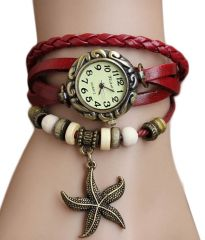 Shop or Gift MF Unique Red Leather Bracelet Vintage Star Women Wrist Watch Online.