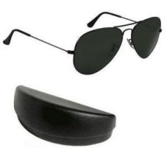 Nau Nidh Black Mens Goggles Aviator Sunglasses With Hard Case