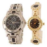 Shop or Gift Buccino & Elle Golden Wrist Watch Set For Couple 295 Online.
