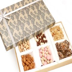 Hampers -  Grey 6 Part Almonds, Pistachios, Nutties, Namkeen, Chocolate Fruit and English Brittles Chocolates Box
