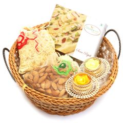 Big Cane Basket with Kaju Katli, Almonds, Namkeen Pouch with 2- T-lites
