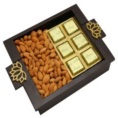 Diwali Hampers-  Green Wooden Serving Tray with Almonds and Chocolate