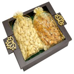 Diwali Hampers-  Green Wooden Serving Tray with Almonds and Cashews