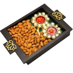 Diwali Hampers-  Green Wooden Serving Tray with Almonds and 2 T-Lites