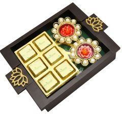 Diwali Hampers-  Green Wooden Serving Tray with Chocolate and 2 T-Lites