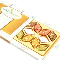 Mother's Day Gifts   Chocolates & Mithais - Mothers Day Sweets-Ghasitaram's Assorted Kaju Katlis in White Box