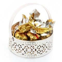 Diwali Chocolates - Silver Small Chocolate Basket
