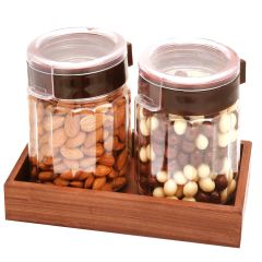 Chocolates Hamper -  Set of 2 Almonds, Nutties Air Tight Containers with Wooden Tray
