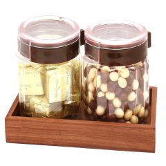 Set of 2 Chocolates and Nutties Air Tight Containers with Wooden Tray