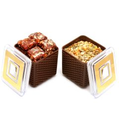Imagica Set of 2 Sugarfree Dates and Figs Bites, Roasted Namkeen Air Tight Containers