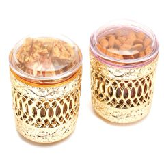 Mehwish Set of 2 Almonds, Roasted Almond Bites Air Tight Containers
