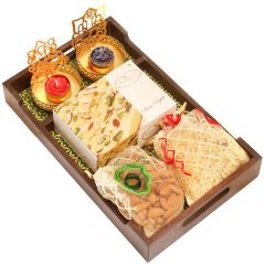 Green Wooden Serving Tray with Soan Papdi, Almonds, Namkeen Pouchs and shadow t-lites