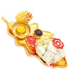 Golden Leaf Platter with Om T-Lite and Chocolates Pouch