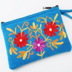 Hand bags-Kashmiri Blue Leather Pouch